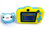 Детский цифровой мини фотоаппарат Cartoon Camera X11 Котик Голубой Kitty 40M, фото 2