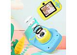 Детский цифровой мини фотоаппарат Cartoon Camera X11 Котик Голубой Kitty 40M, фото 4