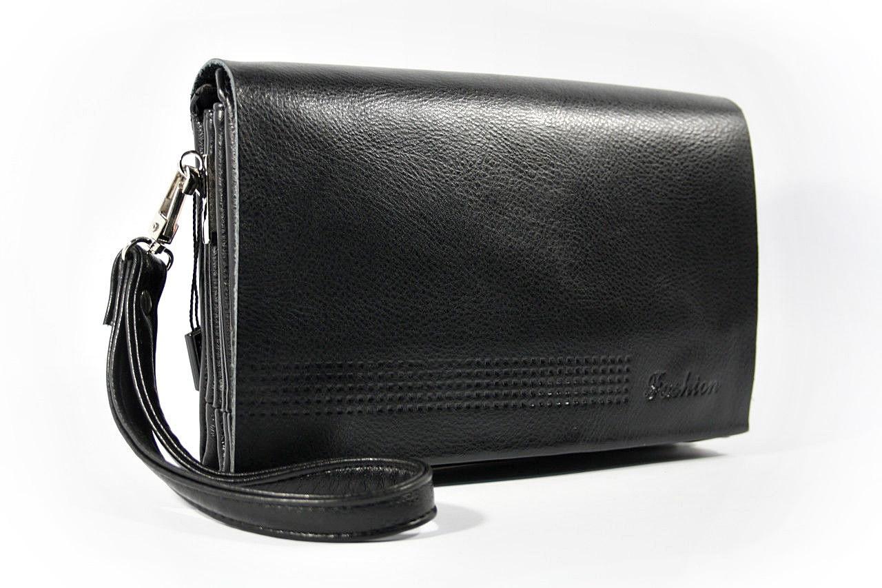 Клатч-сумка средняя кожа PU мужская черная на плечо Fashion 014s