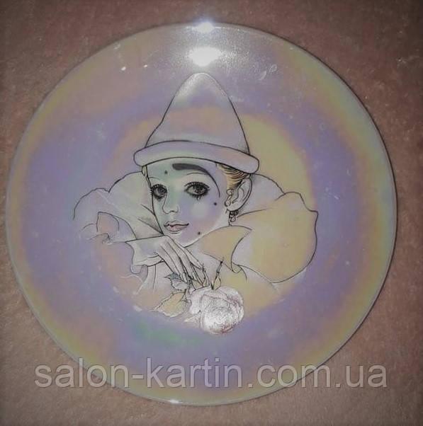 "Фарфоровая тарелка ""Клоунесса с розой"", перламутр, Франция"