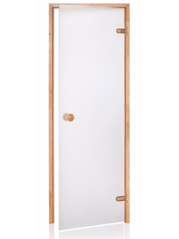 Стеклянная дверь Andres SCAN матовая белая 80x190 см для бани и сауны (клён)