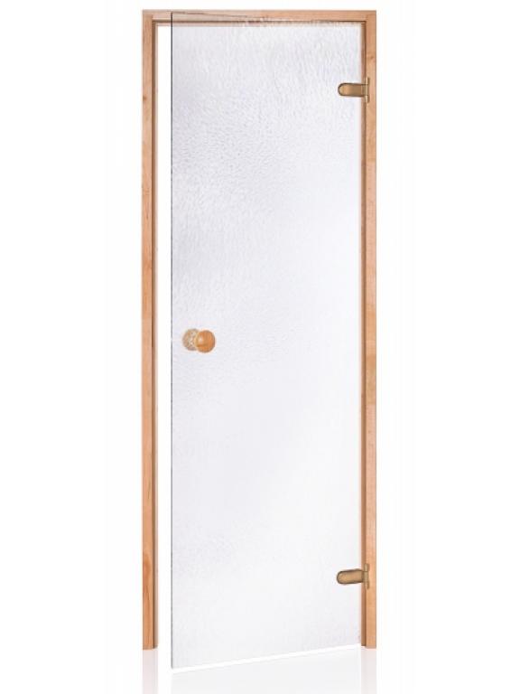 Стеклянная дверь Andres SCAN шиншилла белая 80x190 см для бани и сауны (клён)