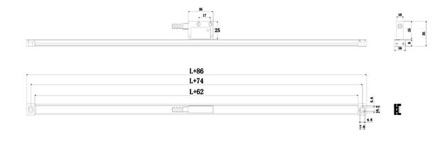 Тонкий монтажный профиль 16х9 мм для магнитной ленты FM TL200 (500) FENAC