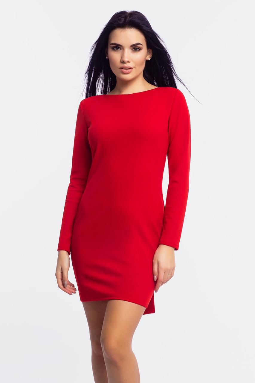 S, M, L   Коктейльне плаття з відкритою спиною Florens, червоний