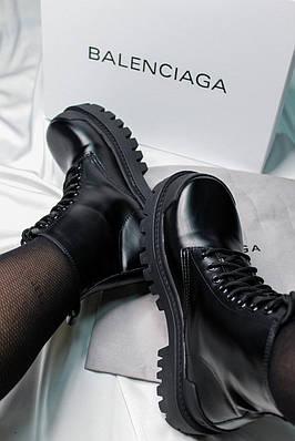 Balenciaga Strike Lace-up Boot Black (черные) fur (мех)  (еврозима)