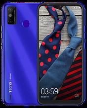 """Смартфон Tecno Spark 6 Go 2/32Gb с большим экраном 6,52"""" с мощной батареей со сканером отпечатка синий"""