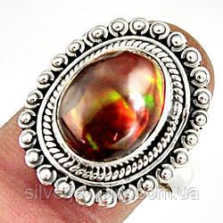 Серебряное кольцо с ОГНЕННЫМ АГАТОМ (натуральный), серебро 925 пр. Размер 18,5
