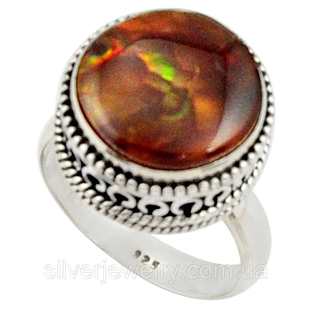 Серебряное кольцо с ОГНЕННЫМ АГАТОМ (натуральный), серебро 925 пр. Размер 17,75
