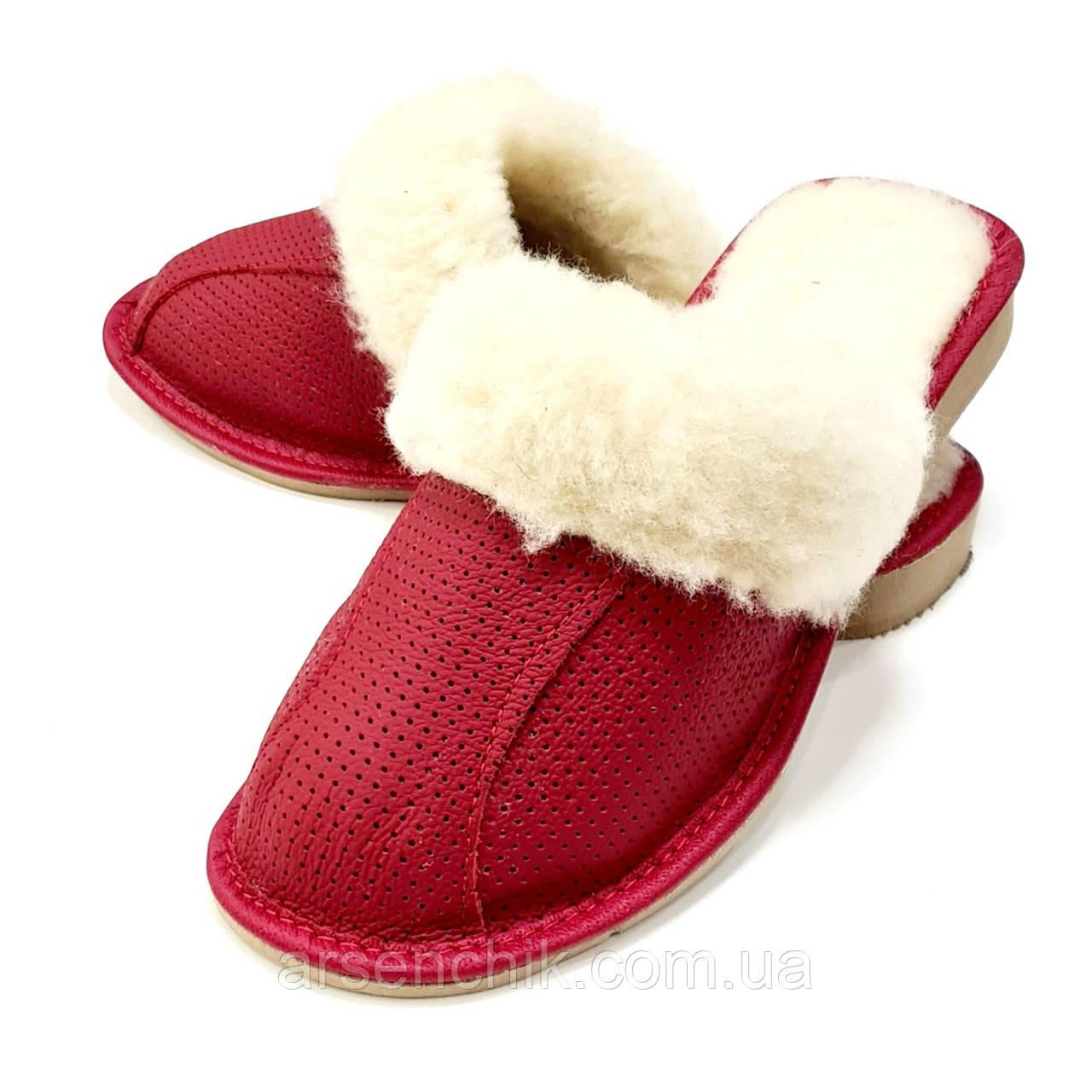"""Кожаные тапочки женские на овчине """"Wojciak"""" 38 с опушкой"""