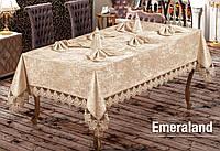 Скатерть  велюр-жаккард  прямоугольная  160х220+8 салфеток 35*35 Emerald  Cappucino, Турция, фото 1