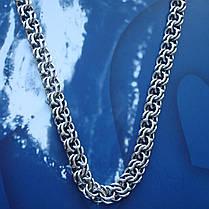 Срібна чоловіча ланцюжок, 650мм, 80 грам, плетіння Бісмарк, фото 2
