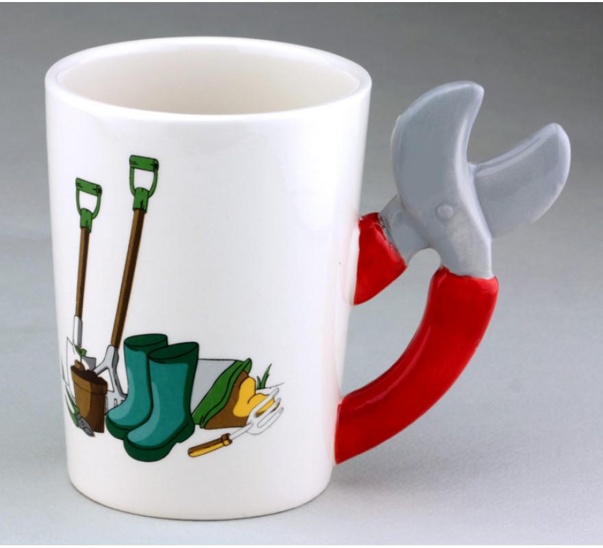 Чашка с ручкой в виде секатора - Кружка дачника