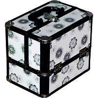 Чемодан алюминиевый 2820 (белый с цветами)