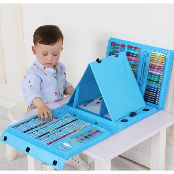 """Набор для детского рисования """"Настоящий художник"""" чемодан из 208 предметов + чемодан с мольбертом Голубой"""