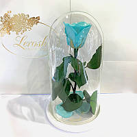 Бирюзовая роза в колбе Lerosh - Classic 27 см