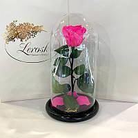 Ярко-розовая Фуксия роза в колбе Lerosh - Classic 27 см