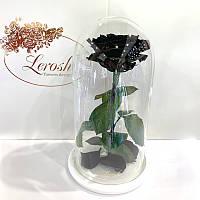 Черная роза в колбе Lerosh - Premium 27 см