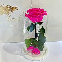 Ярко-розовая Фуксия роза в колбе Lerosh - Premium 27 см на белой подставке