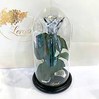 Серебряная роза в колбе Lerosh - Classic 27 см
