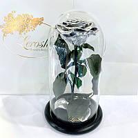 Серебряная роза в колбе Lerosh - Premium 27 см
