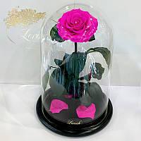 Ярко-розовая Фуксия роза в колбе Lerosh - Lux 33 см