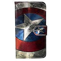 Чехол-книжка с рисунком Color Book для Motorola Moto G5 XT1676 Щит капитана Америки