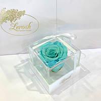 Бирюзовый стабилизированный бутон розы в подарочной коробке Lerosh - Classic
