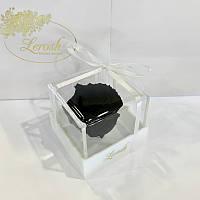 Черный стабилизированный бутон розы в подарочной коробке Lerosh - Classic
