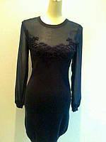 Короткое платье Valentino трикотаж рукав шифон