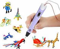 3D ручка c LCD дисплеем и набором эко пластика для 3Д рисования в воздухе Pen 2 для детей Фиолетовый