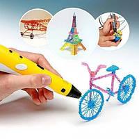 3D ручка c LCD дисплеем и набором эко пластика для 3Д рисования в воздухе Pen 2 для детей Желтый