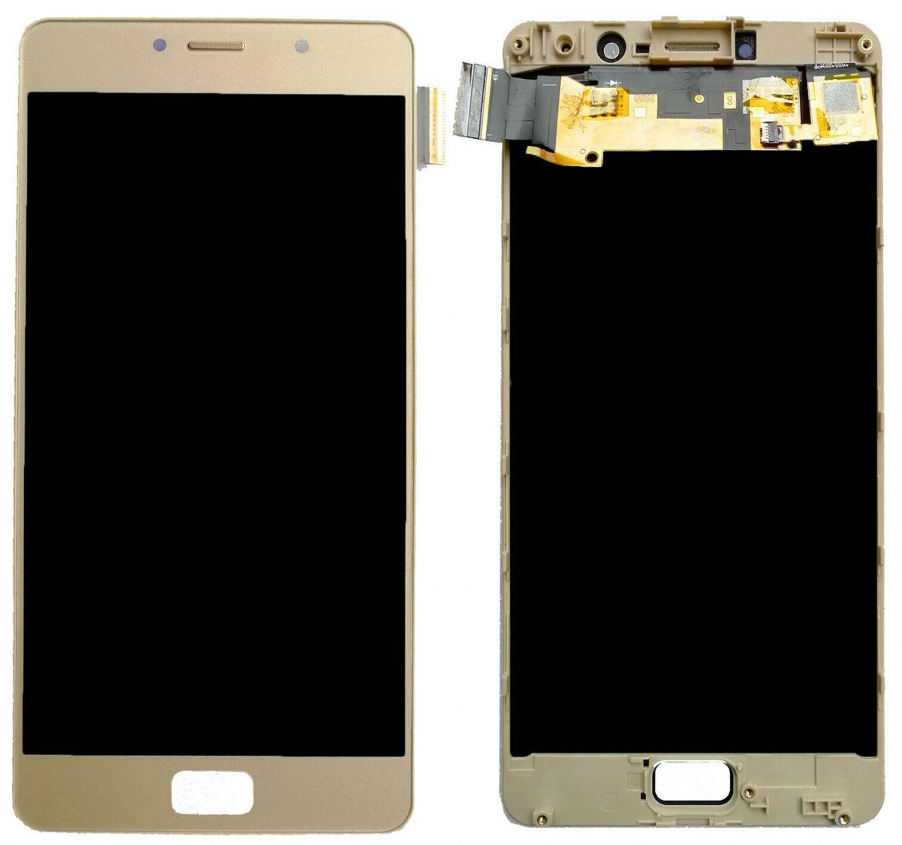 Дисплей Lenovo P2 Vibe P2a42, P2 Vibe P2c72 + Touchscreen with frame (original) Gold