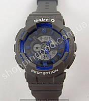 Детские часы Casio Baby G BA-111 5338 (013548) светлый циферблат серые с синим водонепроницаемые