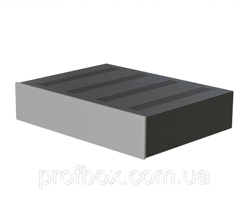 Корпус металевий з алюмінієвою панеллю MB-20 (Ш430 Г310 В90) чорний, RAL9005(Black textured)