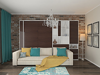 Шкаф-кровать подъемная с диваном, в строенная в стенку, фото 1