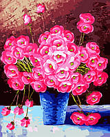 """Картина по номерам. Brushme """"Розовые цветы в синей вазе"""" GX9162"""