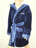 Халат для мальчика бамбук сине-серый Piramyt