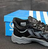 Мужские кроссовки Adidas Ozweego в стиле Адидас Озвиго ЧЕРНЫЕ (Реплика ААА+), фото 3