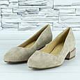 Туфли женские на низком каблуке бежевые эко замша b-483, фото 4