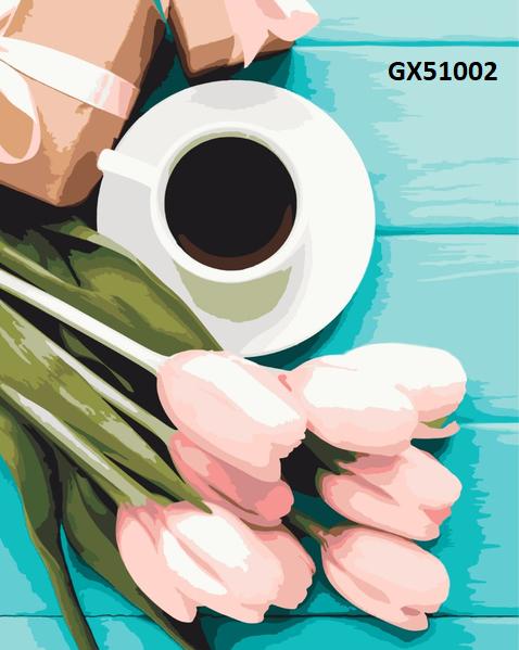 Картина по номерам. «Тюльпаны к кофе» GX51002