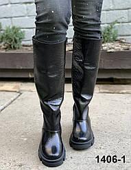 Чоботи жіночі зимові шкіряні чорний блиск