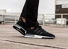 Мужские кроссовки Adidas ZX 500 rm в стиле адидас ЧЕРНЫЕ (Реплика ААА+)