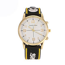 Часы мужские Camilo West  Sport на силиконовом ремешке. Желтый