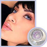Линзы цветные оттеночные для глаз Fresh Lаdy без диоптрий фиолетово-серые