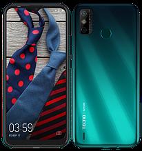 """Смартфон Tecno Spark 6 Go 3/64Gb с большим экраном 6,52"""" с мощной батареей со сканером отпечатка бирюзовый"""