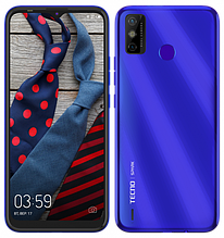 """Смартфон Tecno Spark 6 Go 3/64Gb с большим экраном 6,52"""" с мощной батареей со сканером отпечатка синий"""