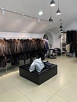 Женская джинсовая парка с натуральным мехом чернобурка 44 размер