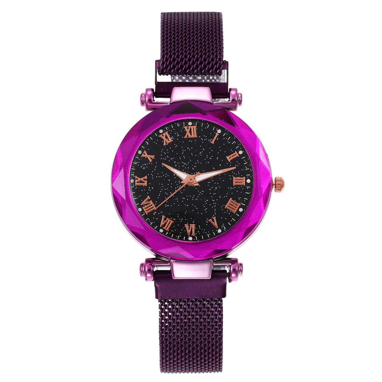 Часы кварцевые  Abeer Romа браслете с магнитом. Фиолетовый опт