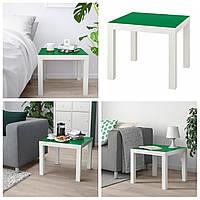 Журнальный столик IKEA LACK бело-зелёный 55x55см ИКЕА ЛАКК квадратный кофейный столик