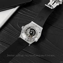 Годинники чоловічі наручні механічні Hublot 5826 Classic Fusion Black-Silver / репліка ААА класу / скелетон, фото 2